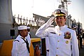US Navy 110729-N-YR391-001 Rear Adm. Anthony Kurta salutes the sideboys during a decommissioning ceremony for USS Doyle (FFG 39).jpg