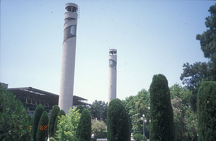 UT's central mosque has been a center for religious and political activity in Tehran during the past 30 years UT mosque minaret.jpg