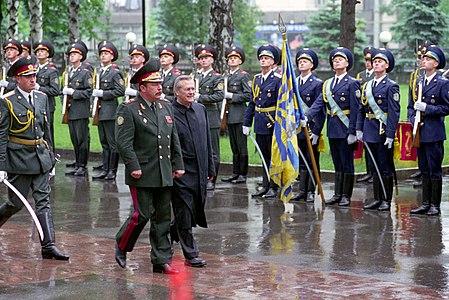 Ukrainian Minister of Defense, General of the Army, Olekasander Kuzmuk hosts a full honor military arrival ceremony for the Honorable Donald H. Rumsfeld, U.S. Secretary of Defense, at Kiev, Ukraine, on Jun. 5 010605-D-WQ296-027