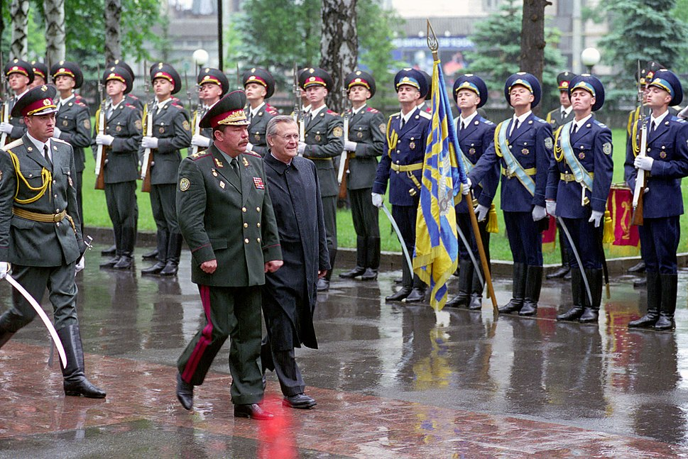Ukrainian Minister of Defense, General of the Army, Olekasander Kuzmuk hosts a full honor military arrival ceremony for the Honorable Donald H. Rumsfeld, U.S. Secretary of Defense, at Kiev, Ukraine, on Jun. 5 010605-D-WQ296-027