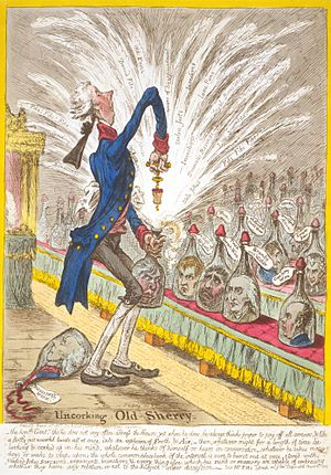 Richard Brinsley Sheridan - In Uncorking Old Sherry (1805), James Gillray caricatured Sheridan as a bottle of sherry, uncorked by Pitt and bursting out with puns, invective, and fibs.