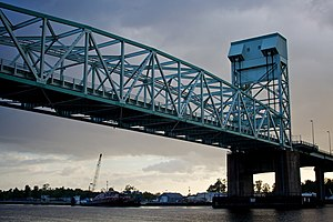 Cape Fear Memorial Bridge - Image: Under the Cape Fear Memorial Bridge