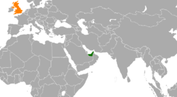 Map indicating locations of United Arab Emirates and United Kingdom