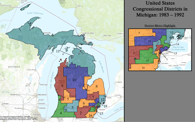 United States Congressional Districts in Michigan, 1983 - 1992.tif