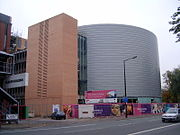 The flagship University Place building, under construction in October 2007, on the site of the former Maths Tower