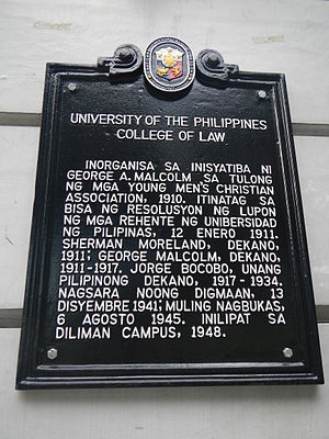 University of the Philippines College of Law - Historical marker at Malcolm Hall