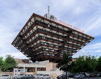 Radio broadcasting - Slovak Radio Building, Bratislava, Slovakia (architects: Štefan Svetko, Štefan Ďurkovič and Barnabáš Kissling, 1967-1983)