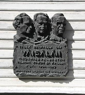 Yrjö Väisälä - Image: Väisälä lapsuuskoti muistolaatta