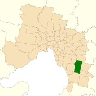 Electoral district of Dandenong - Location of Dandenong (dark green) in Greater Melbourne