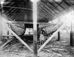 Va'a - Doubled hulled Vaʻa tele (large Vaʻa) or ʻalia, Samoa, circa 1910