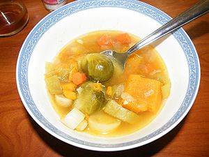 Vegetable soup - leeks onions pumpkin mushroom.jpg