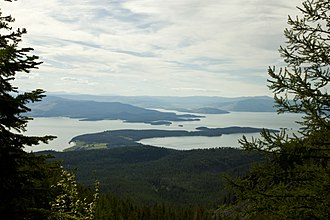 Finley Point State Park - View of Flathead Lake with the Finley Point  peninsula seen jutting into the lake