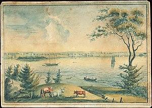 Yarmouth, Nova Scotia - View of Yarmouth from Milton, Nova Scotia, by Sarah Bond Farish, 1829.