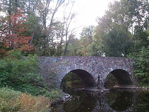 National Register of Historic Places listings in Somerset County, New Jersey - Image: View of bridge from the east side along the water