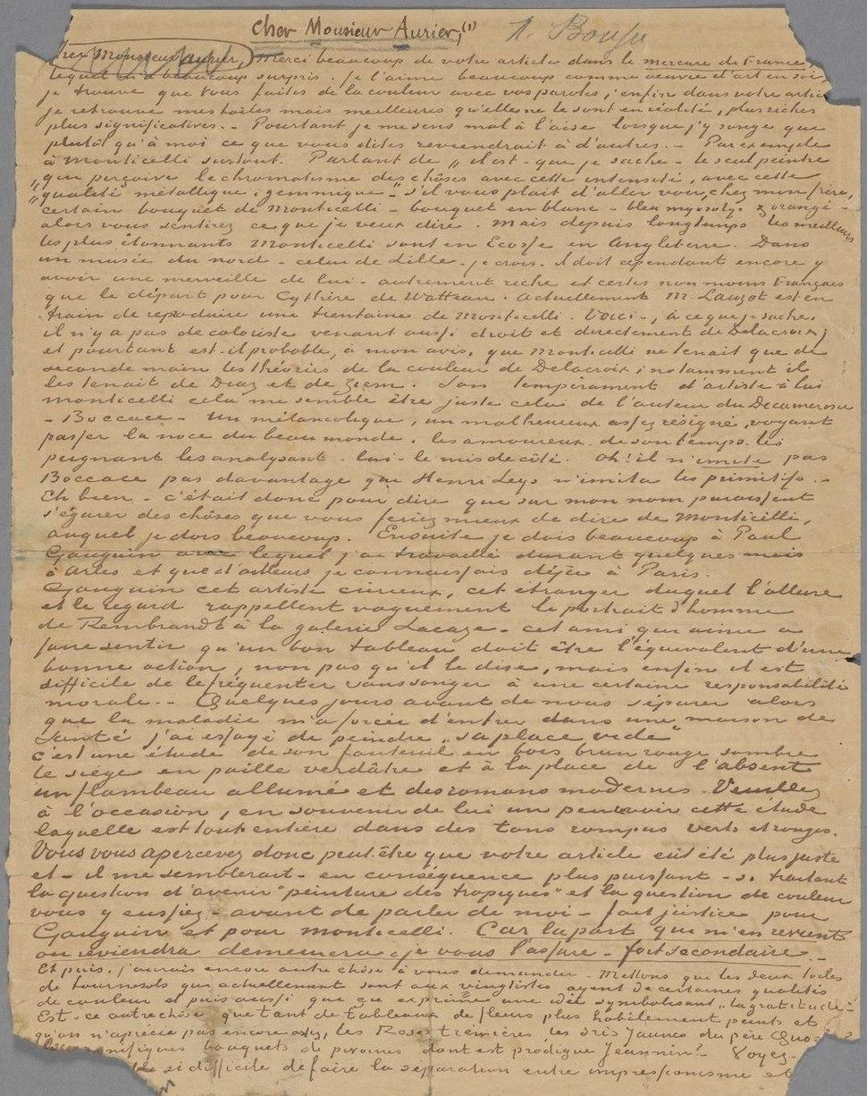 Vincent van Gogh - Letter to Albert Aurier - 9 or 10 February, 1890 - Van Gogh Museum, Amsterdam