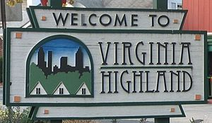 Virginia–Highland - Sign at Virginia Ave. and N. Highland Ave.