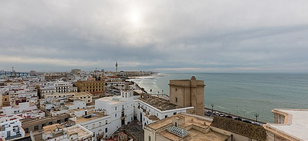 Morning view of the city of Cádiz from the belltower of its cathedral.
