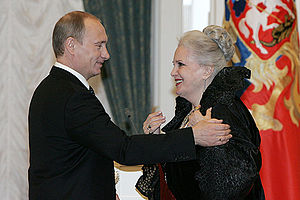 """Elina Bystritskaya - Elina Bystritskaya receives the Order """"For Merit to the Fatherland"""" I degree from Vladimir Putin in 2008"""