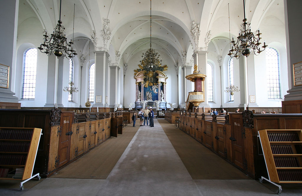 Intérieur de l'église Saint Sauveur de Copenhague au Danemark.