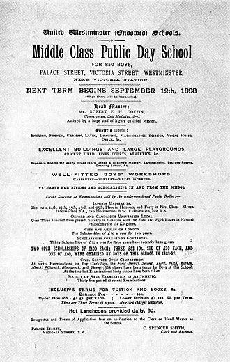 Westminster City School - Old school poster