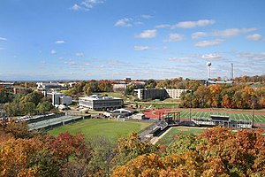 William Paterson University - Aerial view of the campus; this picture was taken from the east end of the campus, with WPU's Wightman Field football stadium visible near the foreground.
