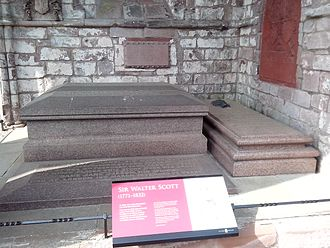 John Gibson Lockhart - Scott family graves at Dryburgh Abbey – Lockhart's grave is on the right; the largest is that of Sir Walter and Lady Charlotte Scott; the inscribed slab covers the Scott's son's grave, Lieutenant Colonel Sir Walter Scott