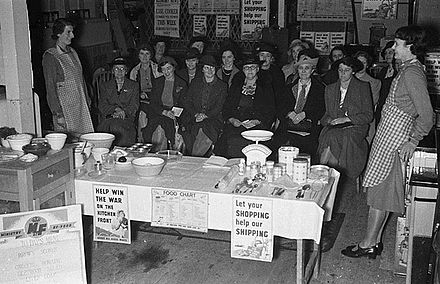 Wartime food and cookery demonstrations, 1940. War-time food and cookery demonstrations at Messrs D. R. Davies, Ironmongery Shop, Newtown (4365437196).jpg