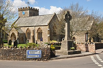 Hemyock - St Mary's parish church, with the parish war memorial in the foreground