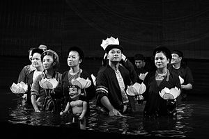 Water puppetry - A water puppet theater show in Hanoi, Vietnam. The players were presenting themselves at the end of the show.