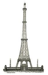dessin au trait de la structure de la tour avec 8 pieds