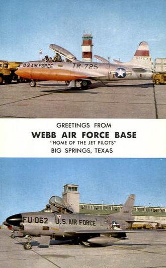 Webb Air Force Base - Postcard from Webb showing Lockheed T-33A-1-LO, AF Ser. No. 53-5725, and North American F-86D-60-NA Sabre, AF Ser. No. 53-4062
