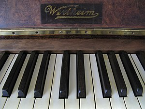 Wertheim Piano - The logo and keys of a late Wertheim upright piano from between 1925-1930