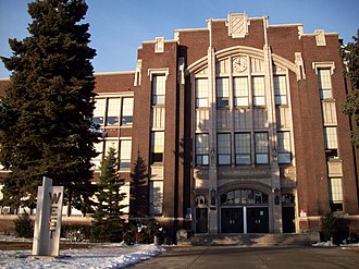 West High School (Utah) - West High School, view of the main entrance from 300 West