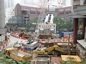 West construction site of South Horizons Station in April 2014.JPG
