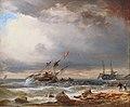 Wilhelm Krause - Dänischer Zweimaster vor kleinem Hafen.jpg