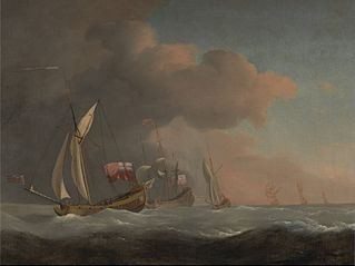 English Royal Yachts at Sea in a Strong Breeze, in Company with a Ship Flying the Royal Standard