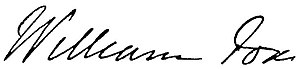 William Fox (politician) - Image: William Fox Signature