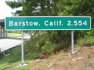 Interstate 40 in North Carolina - Barstow, California, distance sign, as seen from I-40 in Wilmington