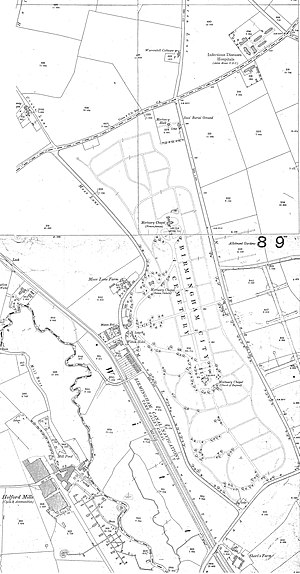 Witton Isolation Hospital - 1903 Ordnance Survey map; the location of the hospital is shown in the top right corner.