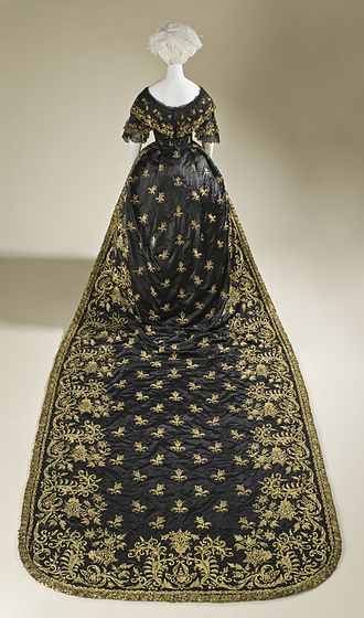 Train (clothing) - Court dress with long train. Portugal, c.1845.