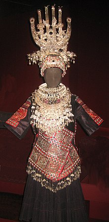 Woman's ensemble of the Miao people (Yangtze River), Shidong style, mid-20th century.jpg