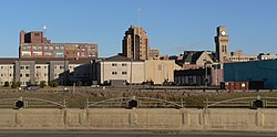 Sioux City skyline. In the center is the Woodbury County Courthouse; the clock tower at right is the city hall.