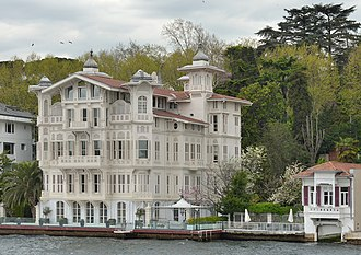 Originally outside the city, yali residences along the Bosphorus are now homes in some of Istanbul's elite neighborhoods. Wooden building on the Bosphorus.jpg