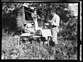 Working Over Herbarium Material at Camp on Impoverished Willow and White-Bark Birch Pole Table, P. H. Dorsett Posing - NARA - 5729276 (page 2).jpg