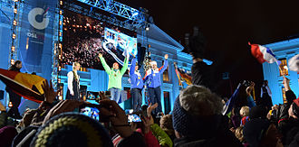 Biathlon World Championships 2016 - Medal ceremony after women's 15 km individual event at Medal Plaza of the University, Karl Johans gate, 9 March 2016. From left to right: Laura Dahlmeier, Marie Dorin Habert and Anaïs Bescond.