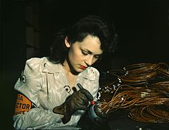 World War II woman aircraft worker, Vega Aircraft Corporation, Burbank, California 1942.jpg