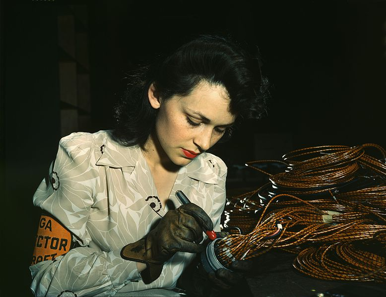 File:World War II woman aircraft worker, Vega Aircraft Corporation, Burbank, California 1942.jpg