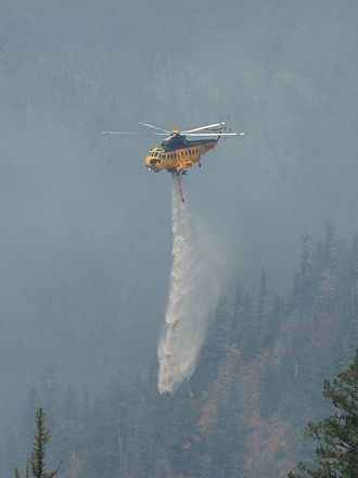 Sikorsky S-61 - A Carson Helicopters Fire King drops on the 2007 WSA Lightning Complex fire.