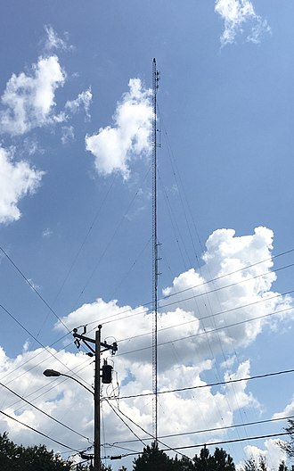 WXEM - The single broadcasting antenna tower used by WXEM and WLKQ-FM as seen from the northwest in Buford, Georgia.