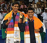 XIX Commonwealth Games-2010 Delhi (Men's Double Table Tennis Final) Achanta Sarath Kamal & Subhajit Saha of India won the Gold medal, at Yamuna Sports Complex, in Delhi on October 13, 2010.jpg